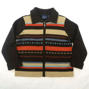 Lambs Wool Cardigan Sweater Crazy Horse Zip Up A L